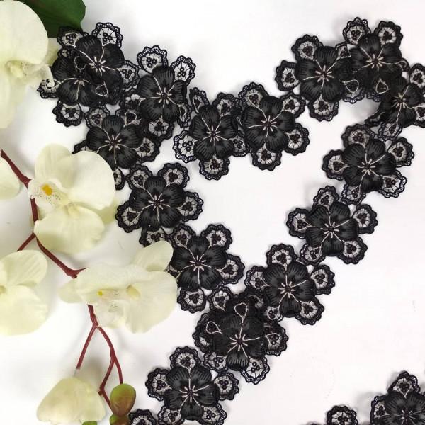 Тесьма цветок черный...